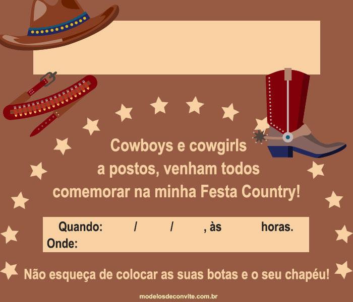 festa country Convite
