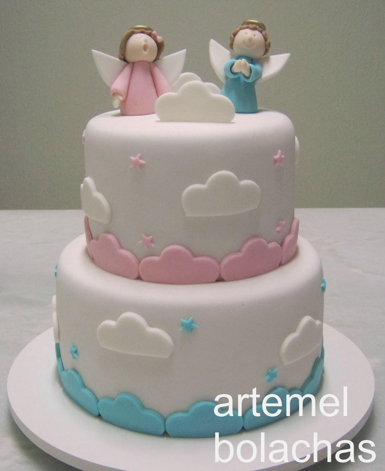 bolo azul e rosa Batizado