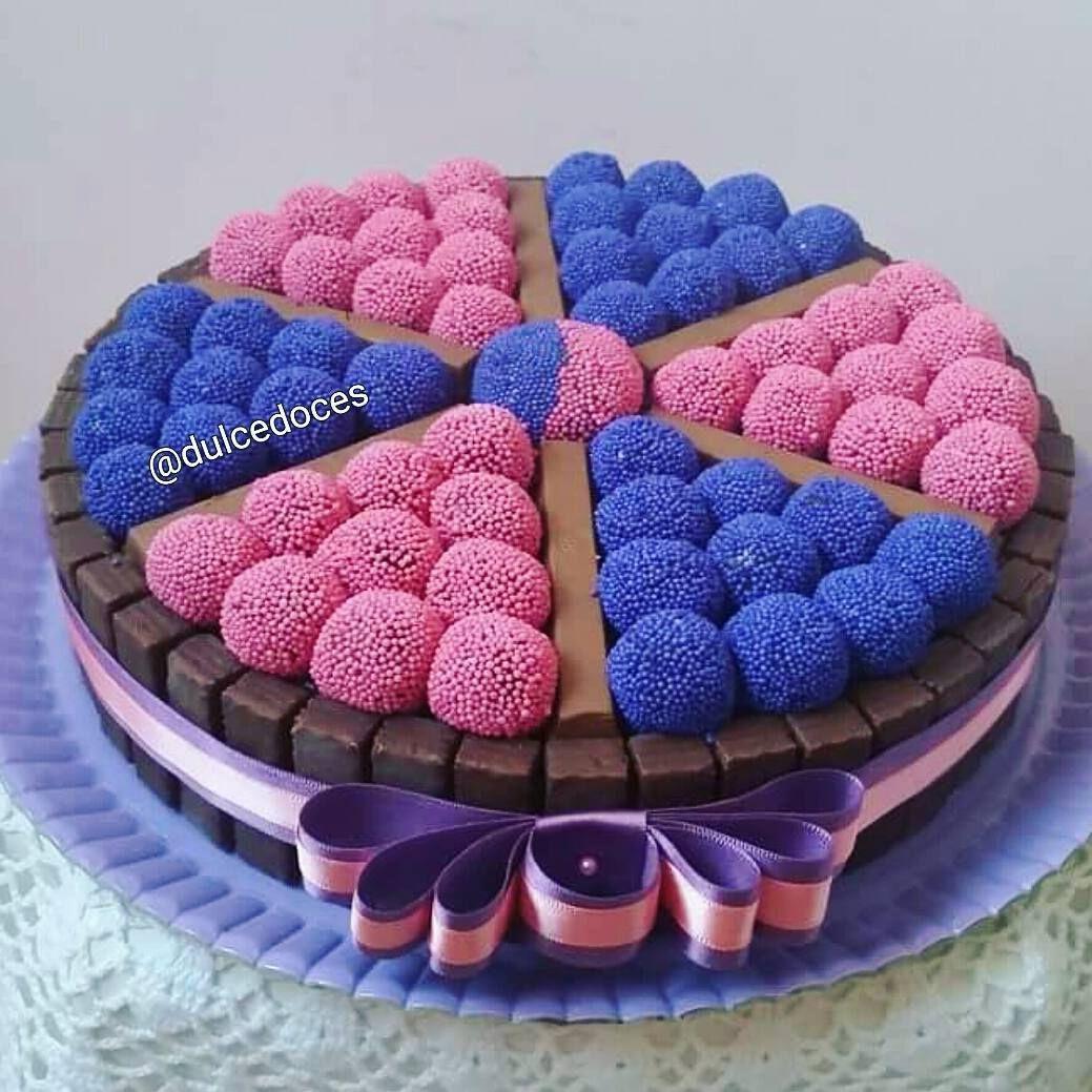 bolo azul e rosa Fitas