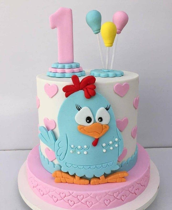 bolo azul e rosa Galinha Pintadinha