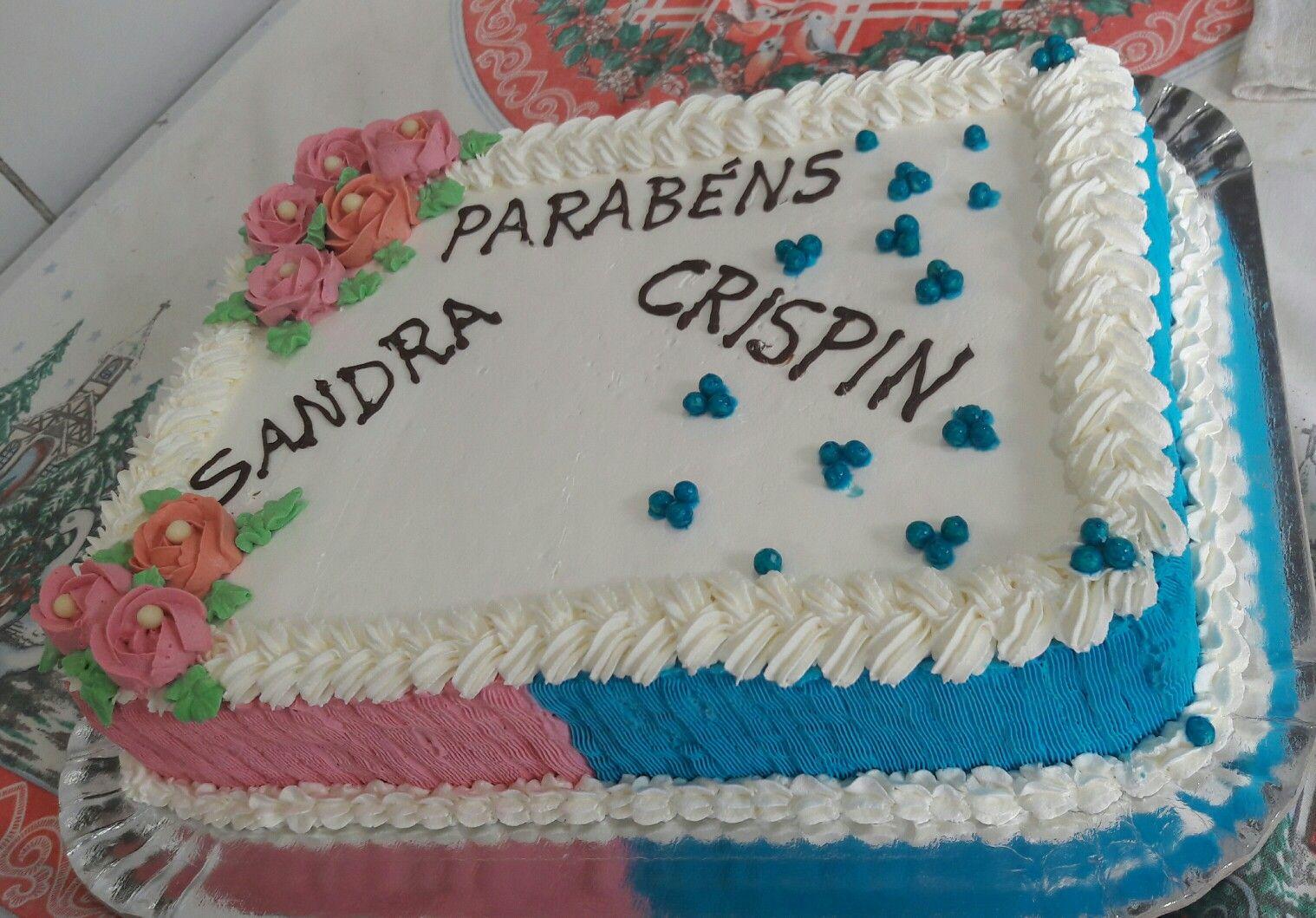 bolo azul e rosa Glacê