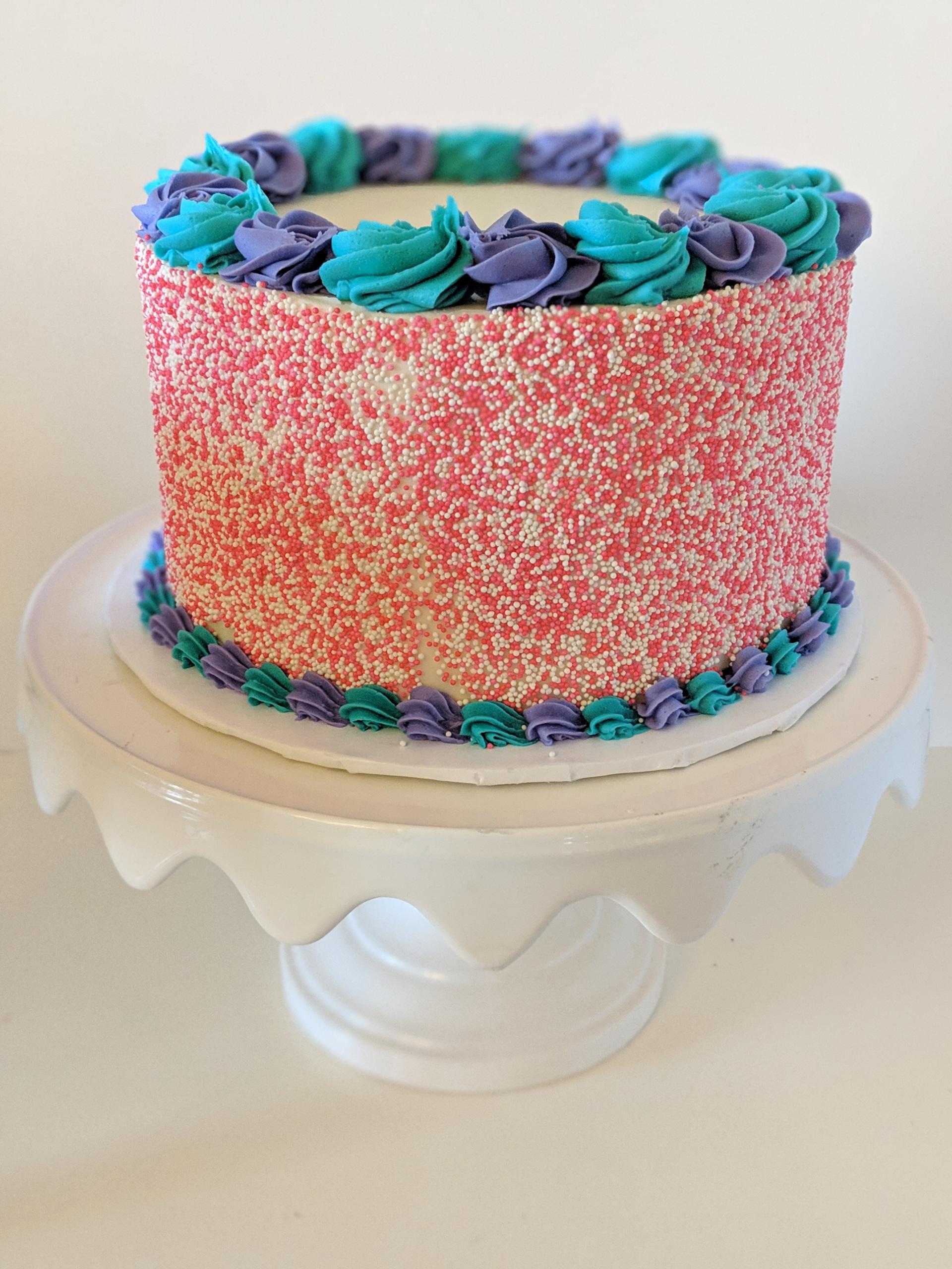 bolo azul e rosa Granulados