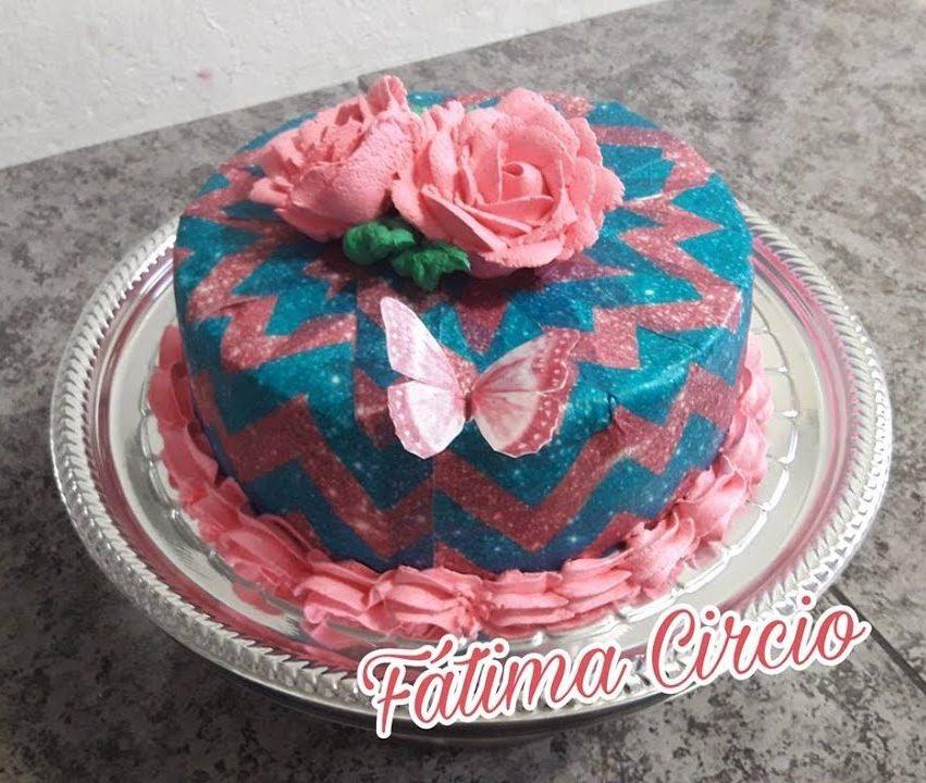 bolo azul e rosa Papel Arroz