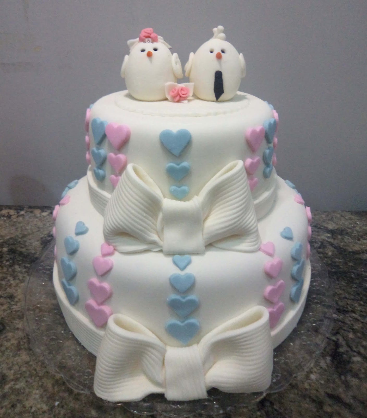 bolo azul e rosa Passarinho