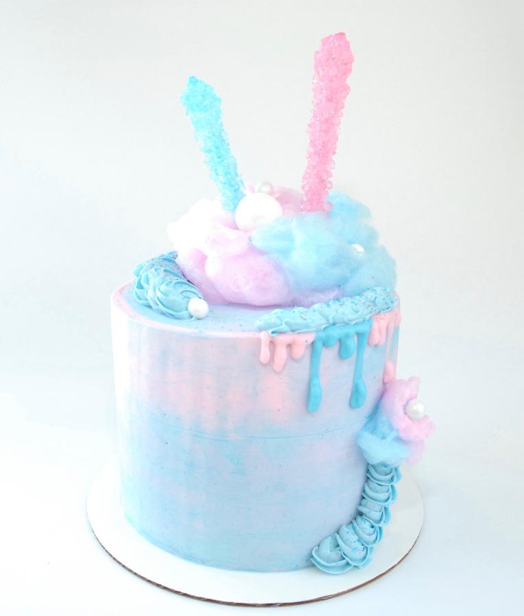 bolo azul e rosa Redondo