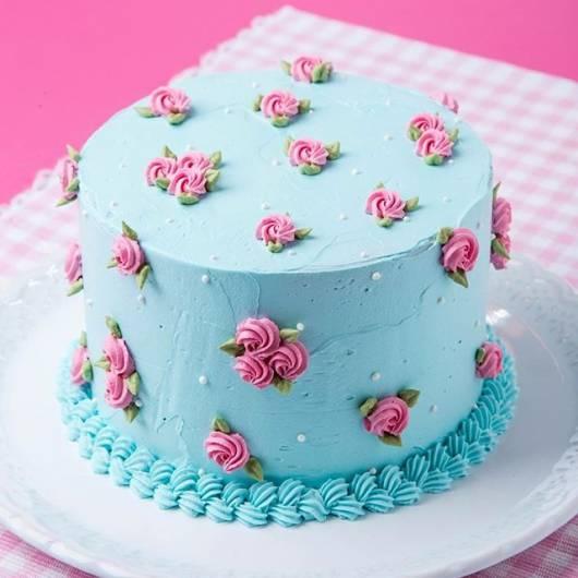 bolo azul e rosa Simples