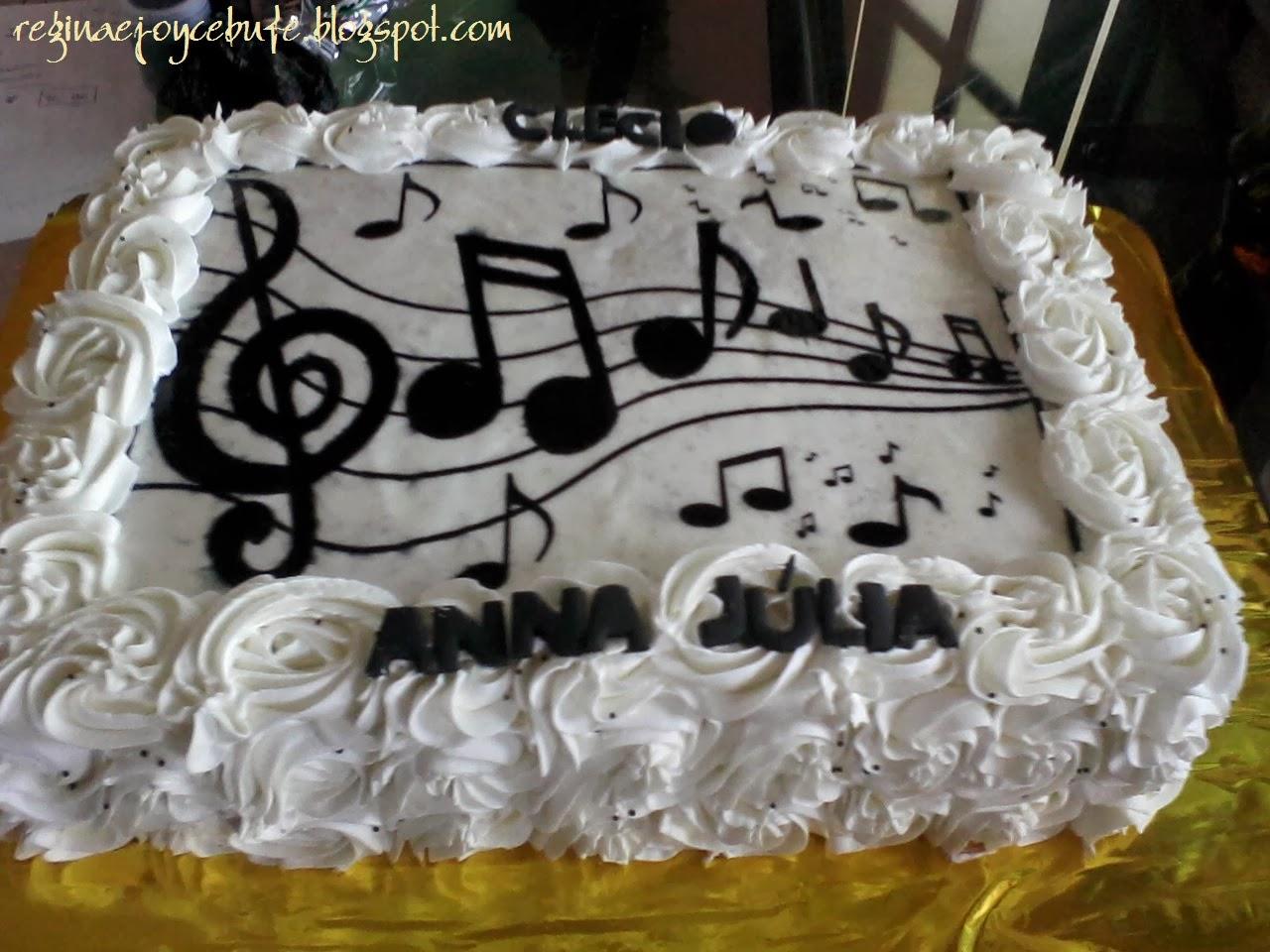 bolo com notas musicais Papel Arroz
