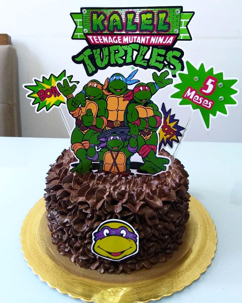 bolo tartaruga ninja Com Topper