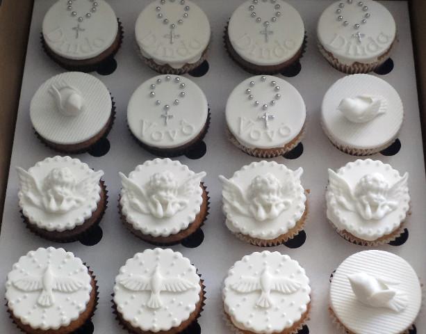 Cupcake Para Batizado Branco