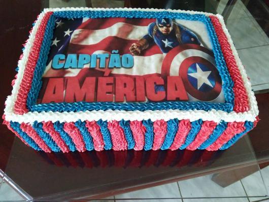 Bolo Capitão América Papel Arroz
