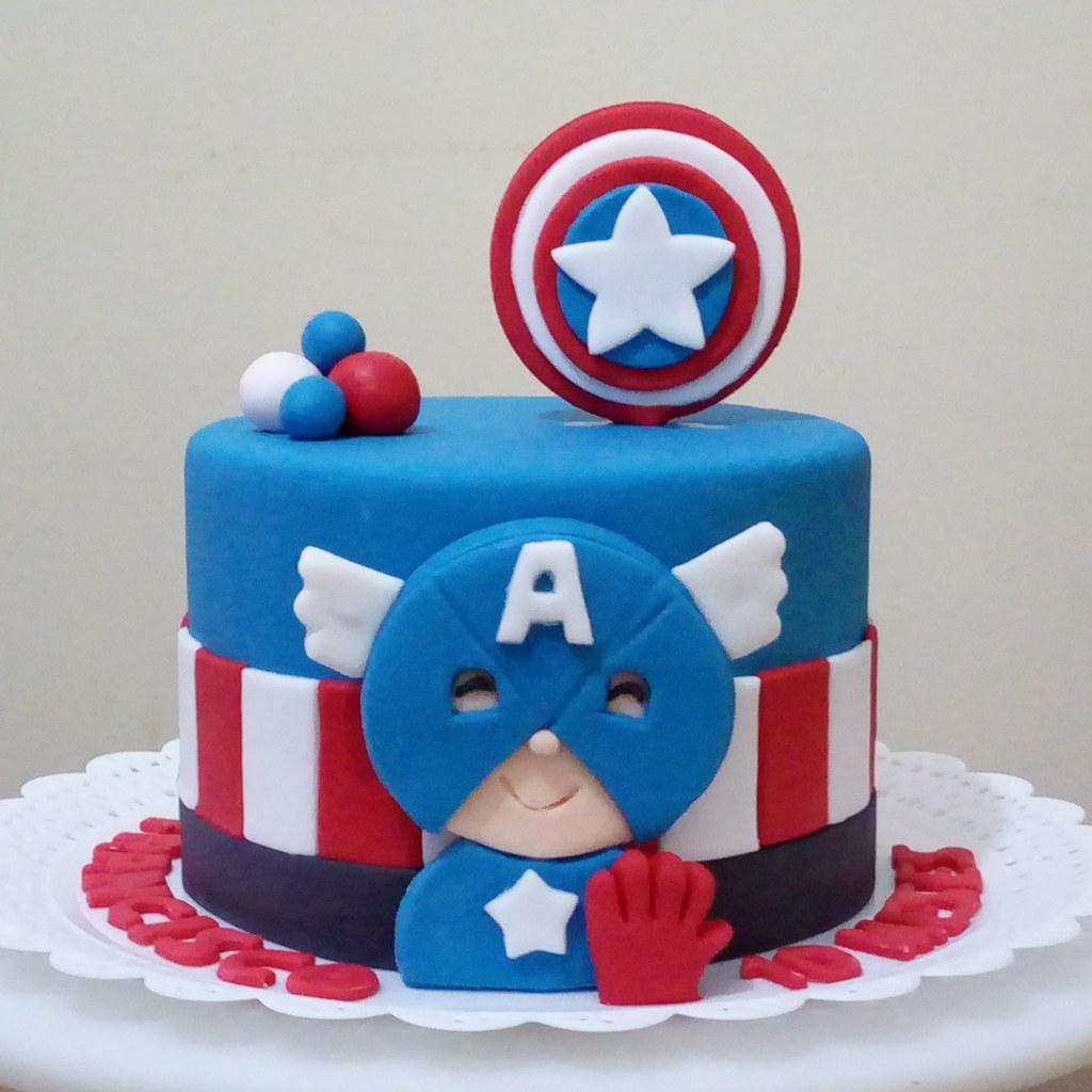 Bolo Capitão América Pasta Americana