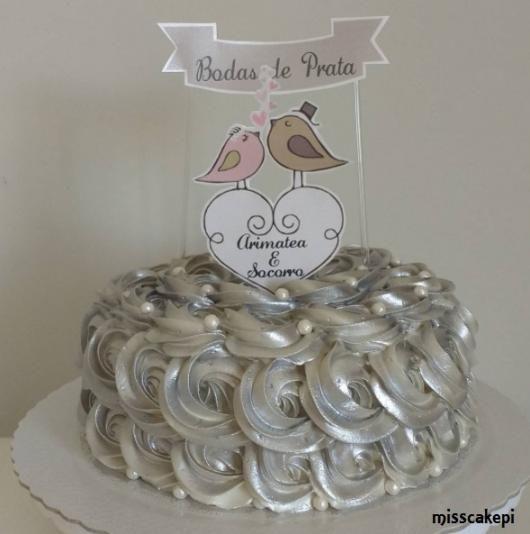 Bolo de bodas de prata Chantilly