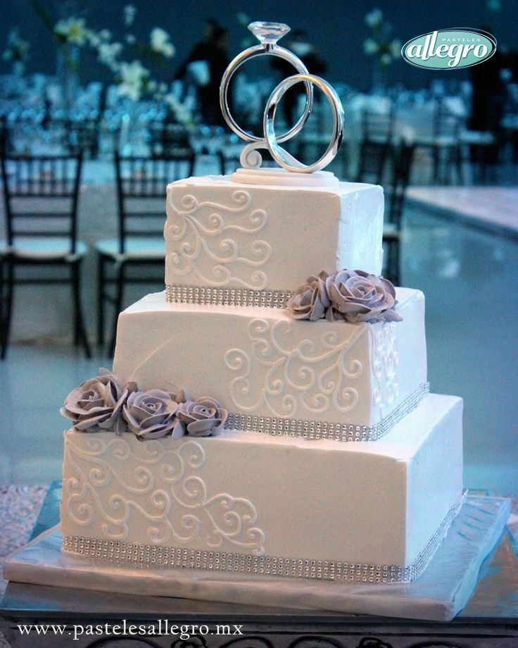 Bolo de bodas de prata Quadrado