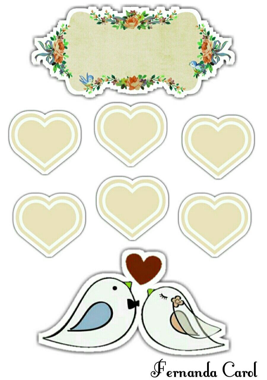 Bolo de bodas de algodão Topo de bolo para imprimir