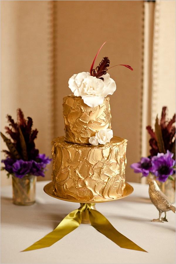Bolo de bodas de ouro Dourado