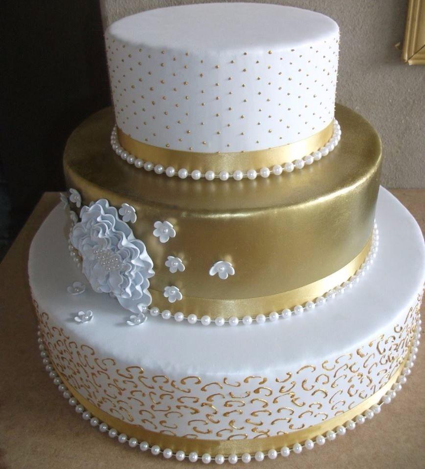 Bolo de bodas de ouro Fake