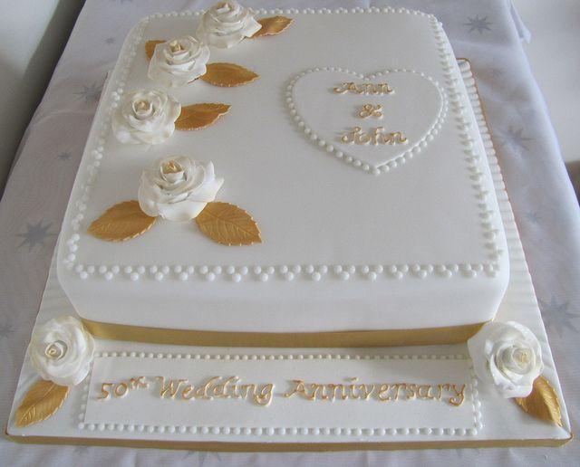 Bolo de bodas de ouro Quadrado