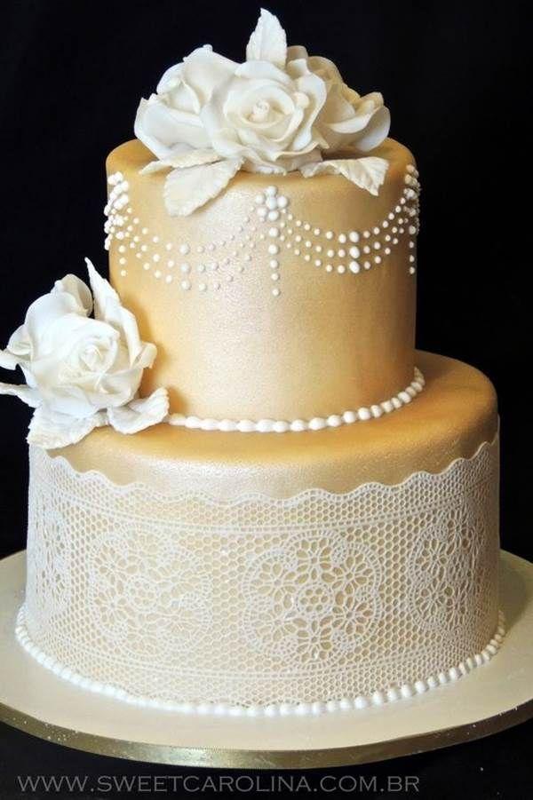 Bolo de bodas de ouro Redondo