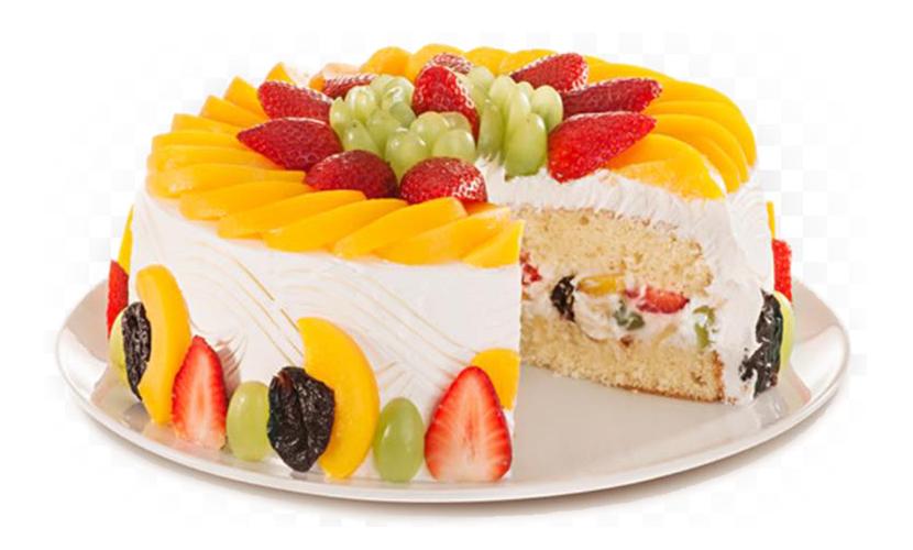Bolo decorado com frutas Chantilly