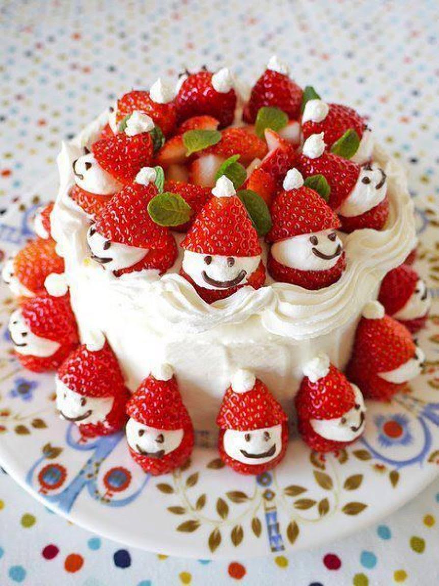 Bolo de natal Decorado com frutas