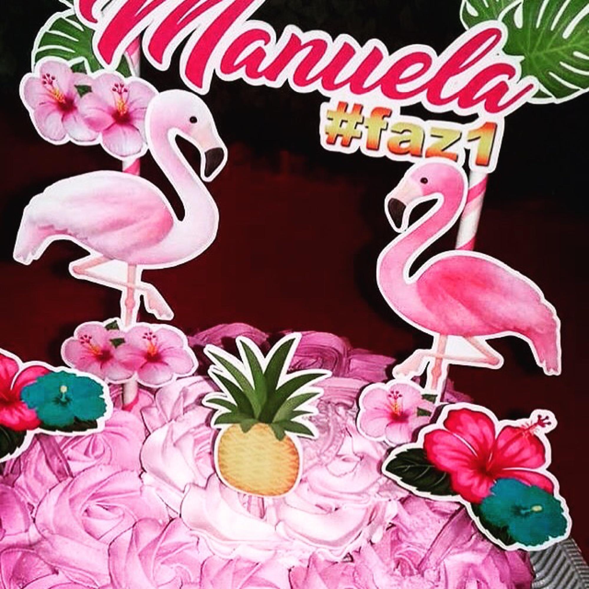 Topper para docinhos Flamingo