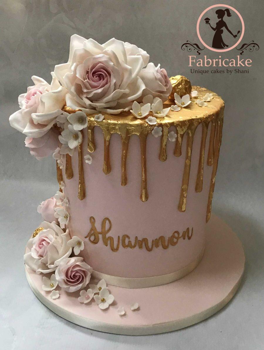 Bolo Glow Cake Rosa e Dourado
