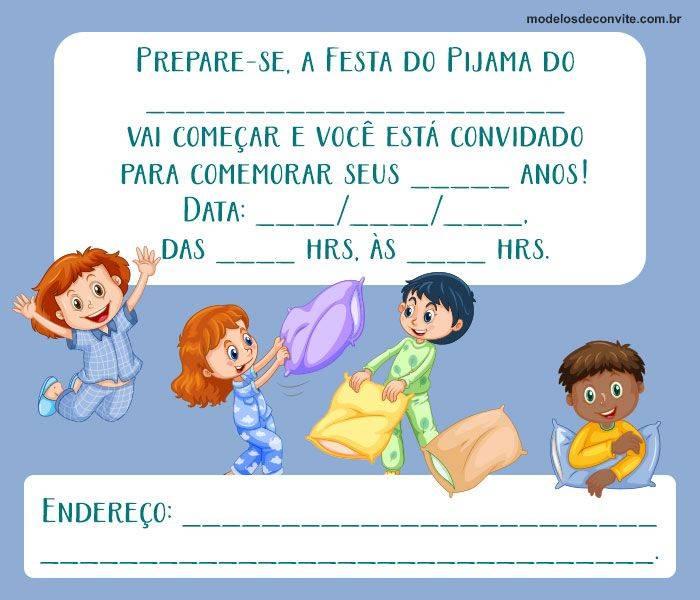 Convite de festa do pijama Para imprimir