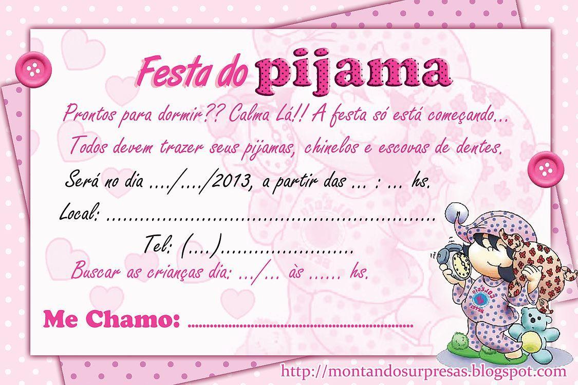 Convite de festa do pijama Simples