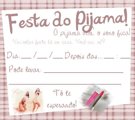 Convite de festa do pijama Tumblr