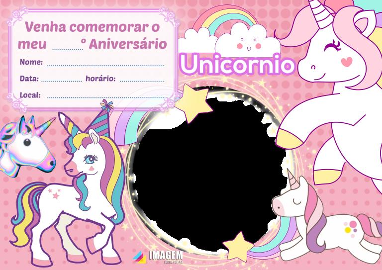 Convite de festa do pijama Unicórnio para editar