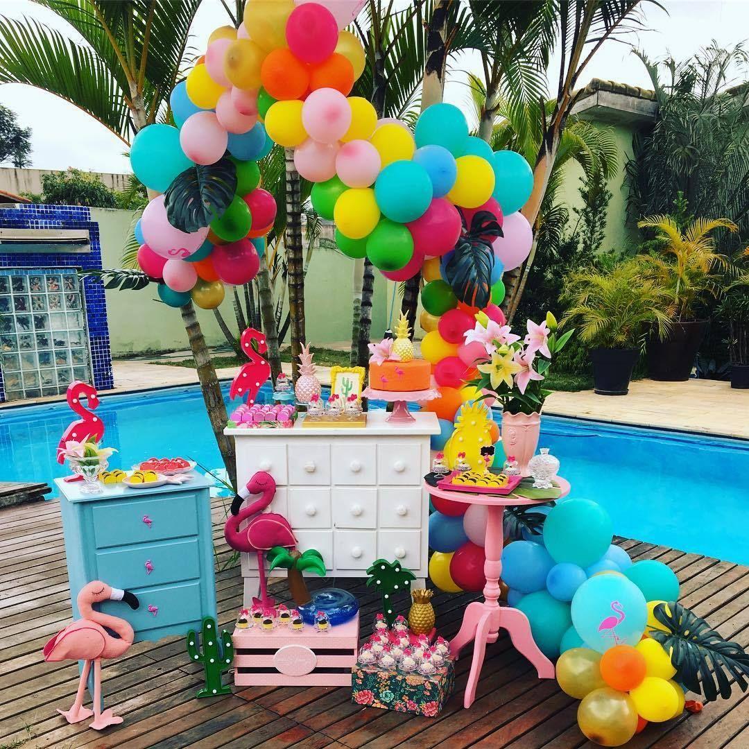 Festa pool party Decoração