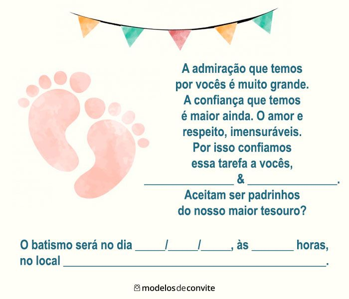 Convite para ser madrinha De batismo
