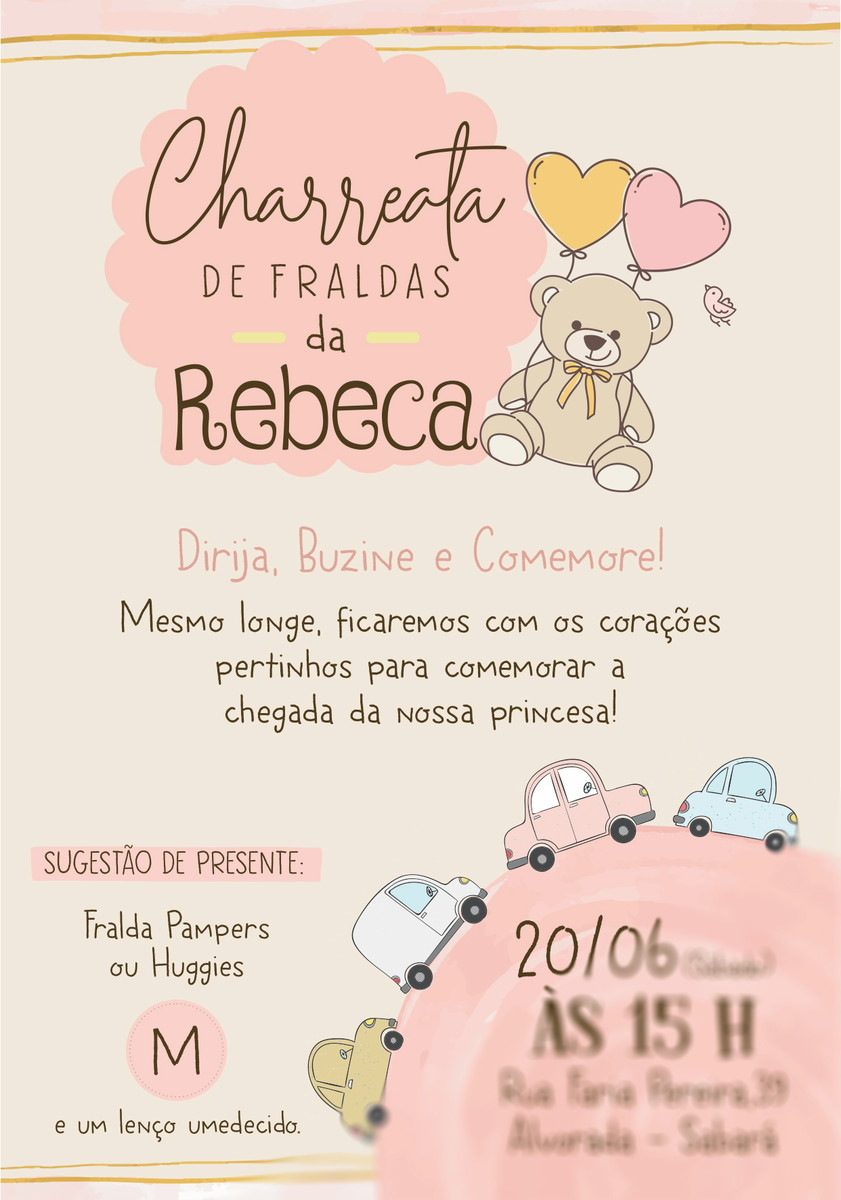 Convite charreata De Fraldas