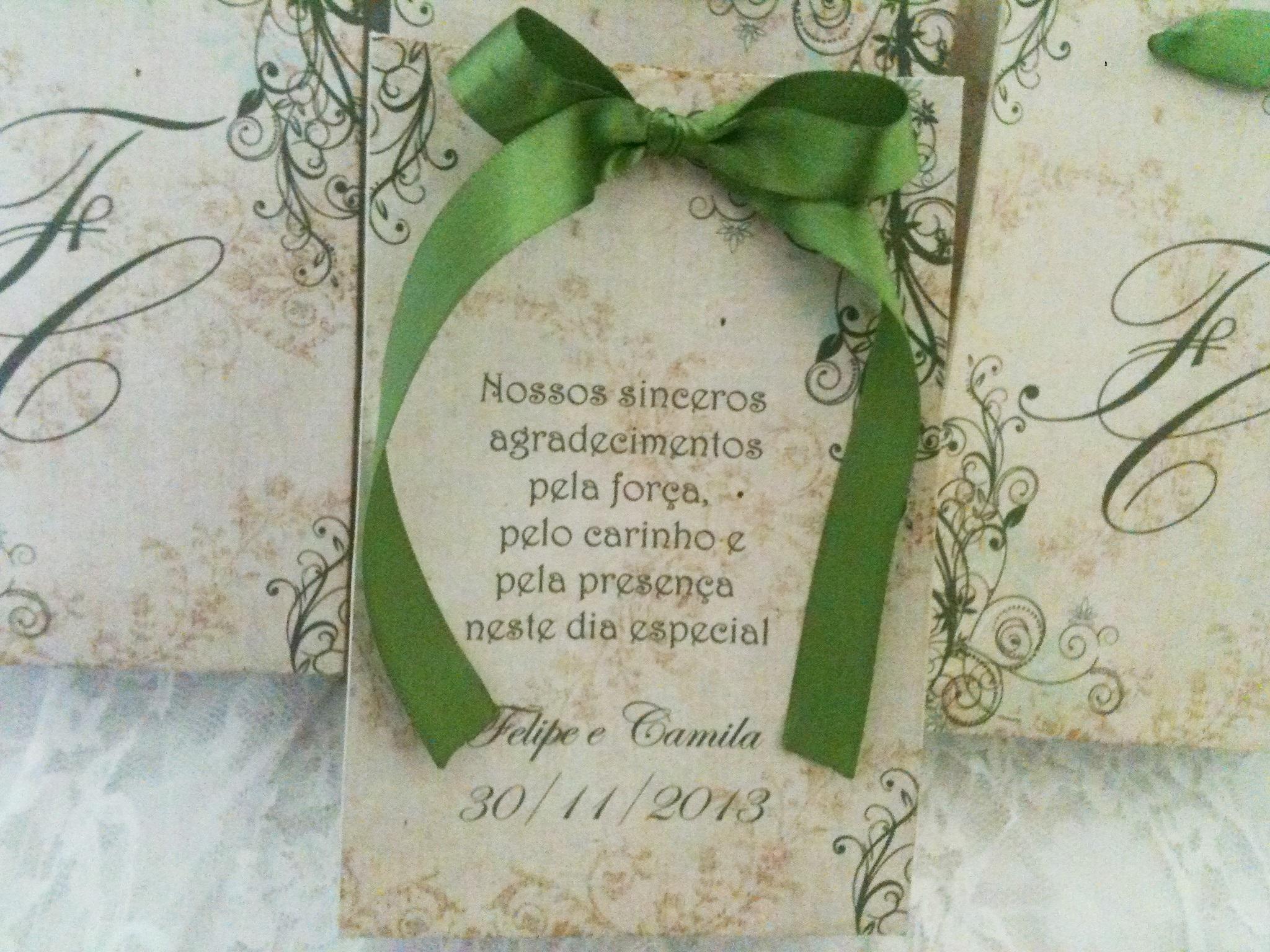 Convite para madrinha de casamento Agradecimento