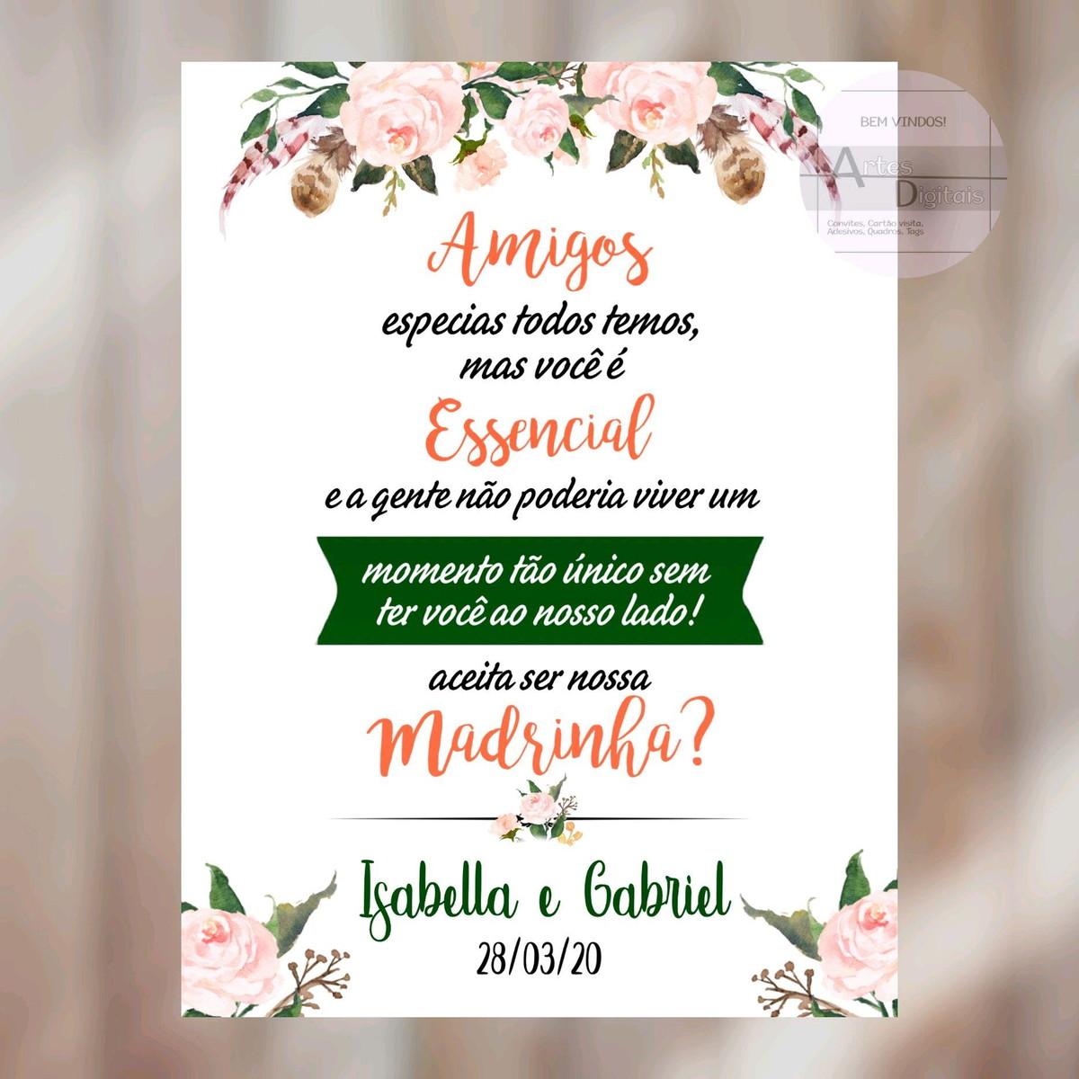 Convite para madrinha de casamento Civil
