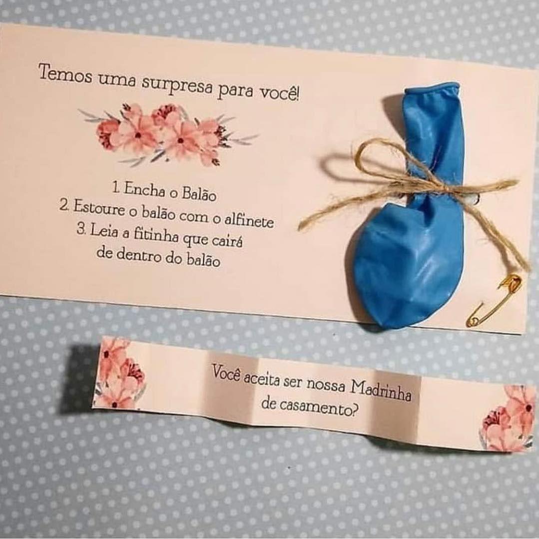 Convite para madrinha de casamento Criativo