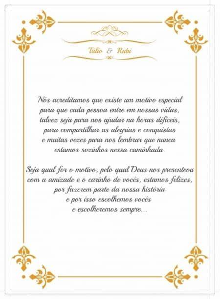 Convite para madrinha de casamento Texto
