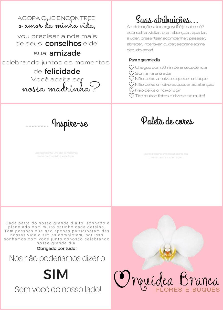 Convite para madrinha de casamento Para editar