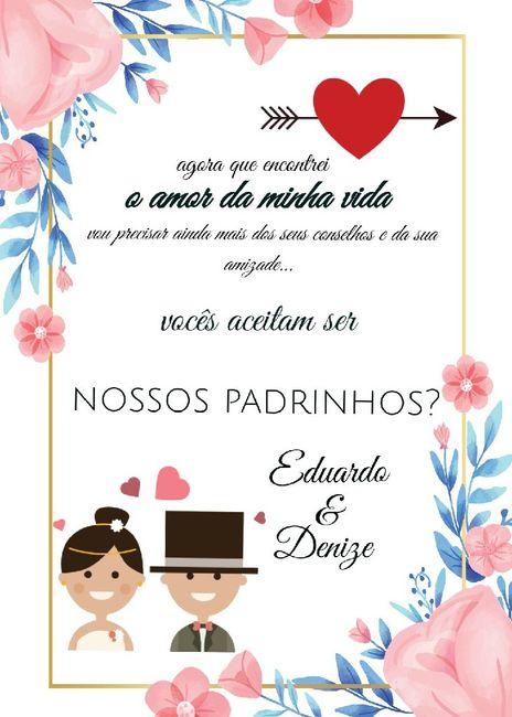 Convite para madrinha de casamento Virtual